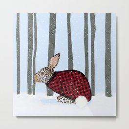 Rabbit Wintery Holiday Design Metal Print