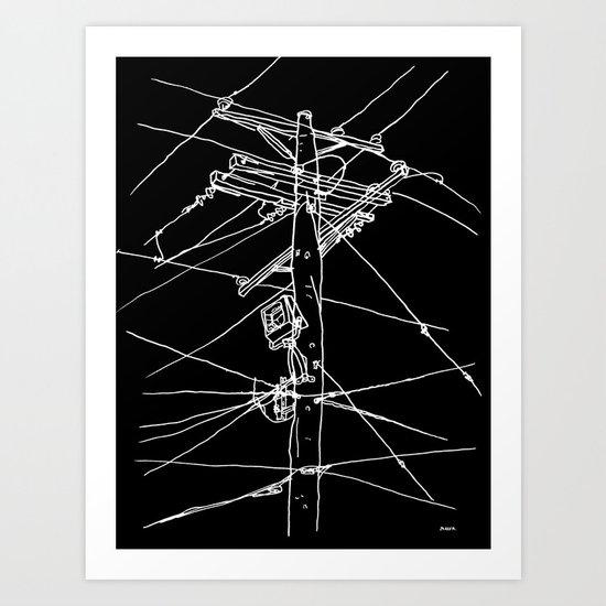 Line Art Prints : Power lines art print by nicholas baker society