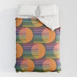 Tangerine Comet Rainbow Black Comforters