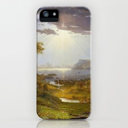 Autumn & Rays of Sun in the Hudson River Valley by Jasper Francis Cropsey iPhone Case