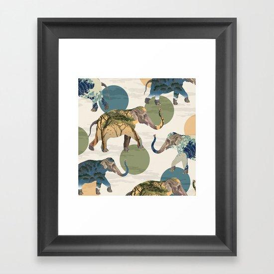 Elephant Polka Framed Art Print
