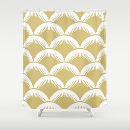 Japanese Fish Scales Gold Shower Curtain