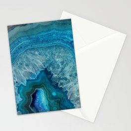 Blue agate marble faux druse crystal quartz gem gemstone geode mineral stone photograph hipster Stationery Cards