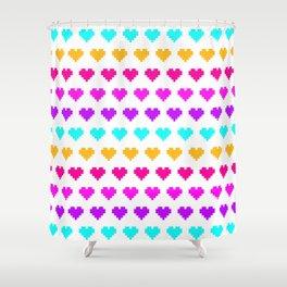Pixel Hearts - Pastel Shower Curtain