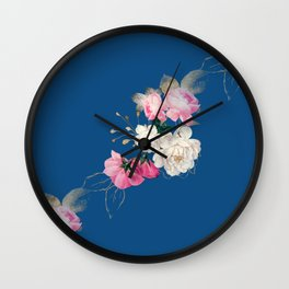 Roses on Classic Blue Larger Pattern Wall Clock