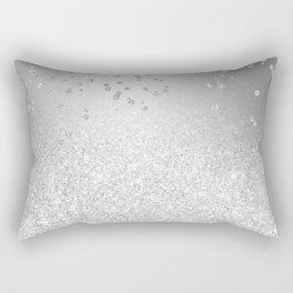 Modern silver glitter ombre metallic sparkles confetti Rectangular Pillow