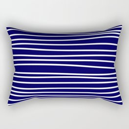 Navy Blue & White Maritime Hand Drawn Stripes- Mix & Match with Simplicity of Life Rectangular Pillow