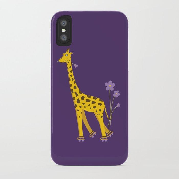 Funny Giraffe Roller Skating iPhone Case