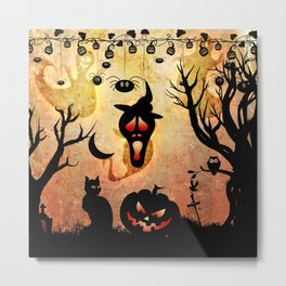 Funny halloween design, pumpkin, cat, owl and crow Metal Print