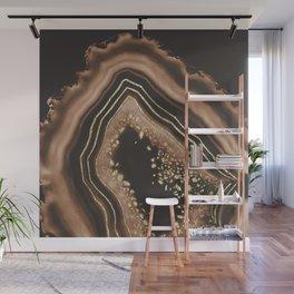Brown Agate Gold Foil Glam #1 #gem #decor #art #society6 Wall Mural