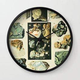 Vintage Minerals Chart Wall Clock
