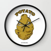 potato Wall Clocks featuring POTATO  by Michelena