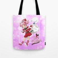 madoka Tote Bags featuring Merry Christmas Madoka Kaname by Neo Crystal Tokyo