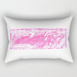 Pink Linoleum Print Rectangular Pillow