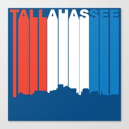 Red White And Blue Tallahassee Florida Skyline Canvas Print
