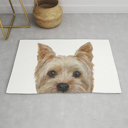Yorkshire 2 Dog illustration original painting print Rug
