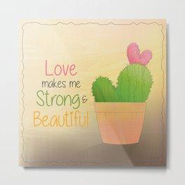 Heart Shaped Cacti Metal Print