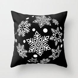 Snow Flakes Christmas Bauble - White on Black Throw Pillow