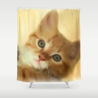 tom hiddleston Shower Curtains featuring Ginger Tom by Selina Morgan
