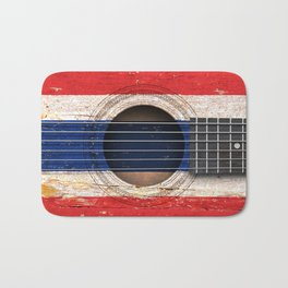 Old Vintage Acoustic Guitar with Thai Flag Bath Mat