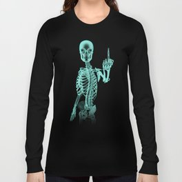 X-ray Bird / X-rayed skeleton demonstrating international hand gesture Long Sleeve T-shirt