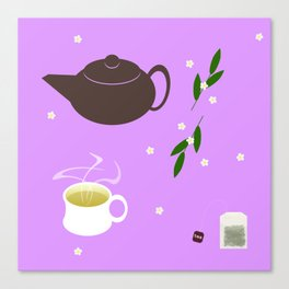 Teatime on Lilac Canvas Print