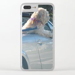 Happy dog in convertible Clear iPhone Case