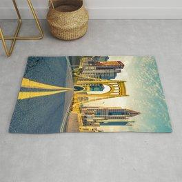 Pittsburgh Vintage Golden Bridge Print Rug