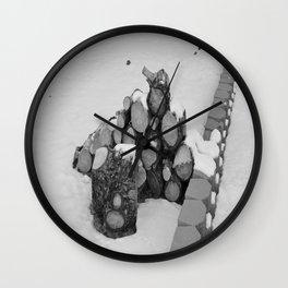 Snowy Logs Wall Clock