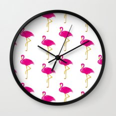 Gold Flamingo Wall Clock