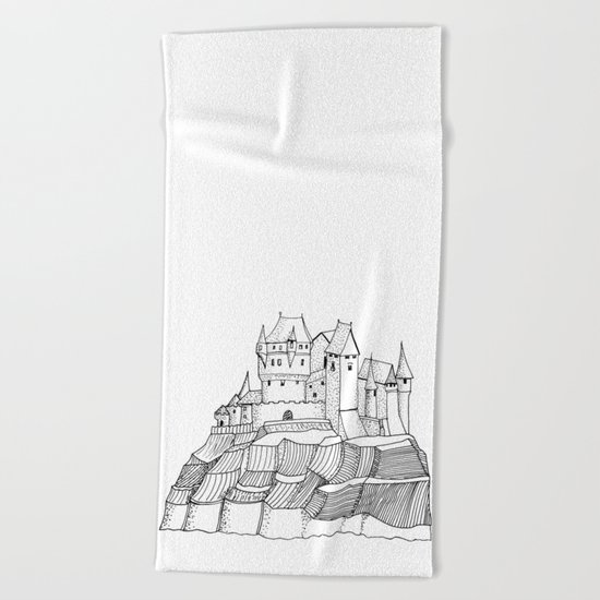 Castle on the cliff Beach Towel