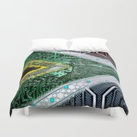 south africa Duvet Covers featuring circuit board South Africa (Flag) by seb mcnulty