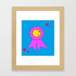 A Happy Mother's Day with Pink Hearts and Blue background Framed Art Print