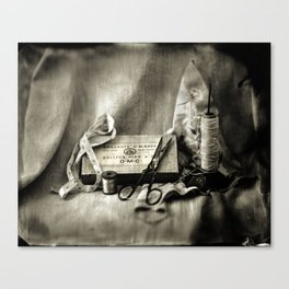 Tintype of Antique Sewing Tools Canvas Print