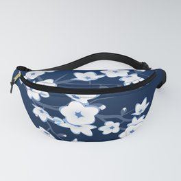 Navy Blue White Cherry Blossoms Fanny Pack
