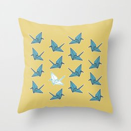 PAPER CRANES BABY BLUE AND YELLOW Throw Pillow
