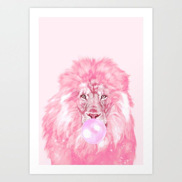 Lion Chewing Bubble Gum in Pink Kunstdrucke