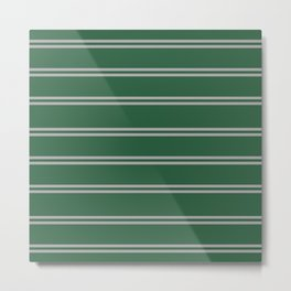 Green and Silver House Colors Stripes Metal Print