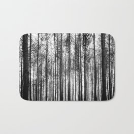 trees in forest landscape - black and white nature photography Bath Mat