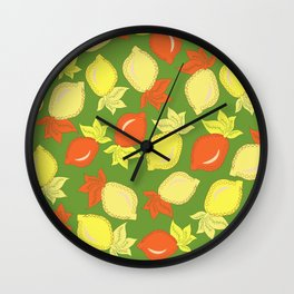 Tumbled Lemons Pattern Wall Clock