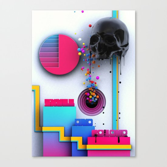 Skull and Colour Canvas Print