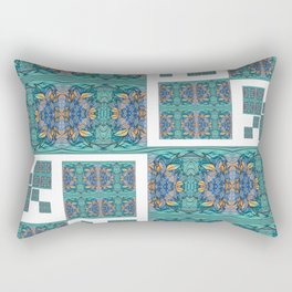 Optical Illusion Square Aqua Lavendar Mandala Quilt Design Rectangular Pillow