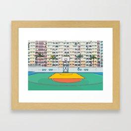Ball is life - Baseball court Palmtrees Framed Art Print