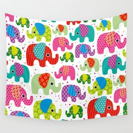 Colorful india elephant kids illustration pattern Wall Tapestry