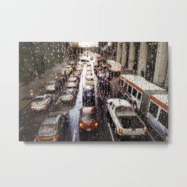 Rainy Rush Hour Metal Print