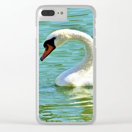 Beautiful White Swan Swimming On Rawhide Lake Texas Clear iPhone Case