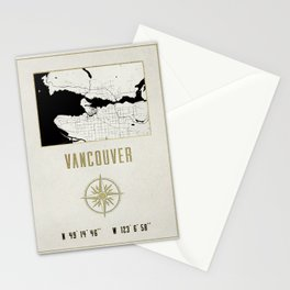 Vancouver - Vintage Map and Location Stationery Cards