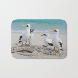 Masked Boobies on a beach Bath Mat