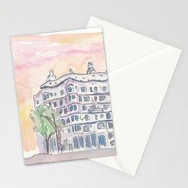 Barcelona Gaudi Houses Casa Batllo and Casa Mila Stationery Cards