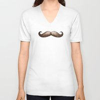mustache V-neck T-shirts featuring Mustache by beart24